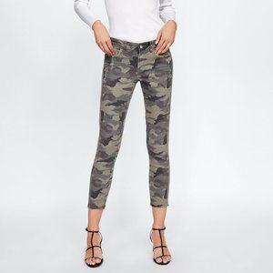 NWT Zara US 2 Khaki Camouflage Jeans
